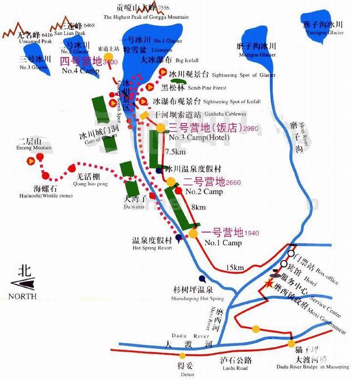 海螺沟旅游地图