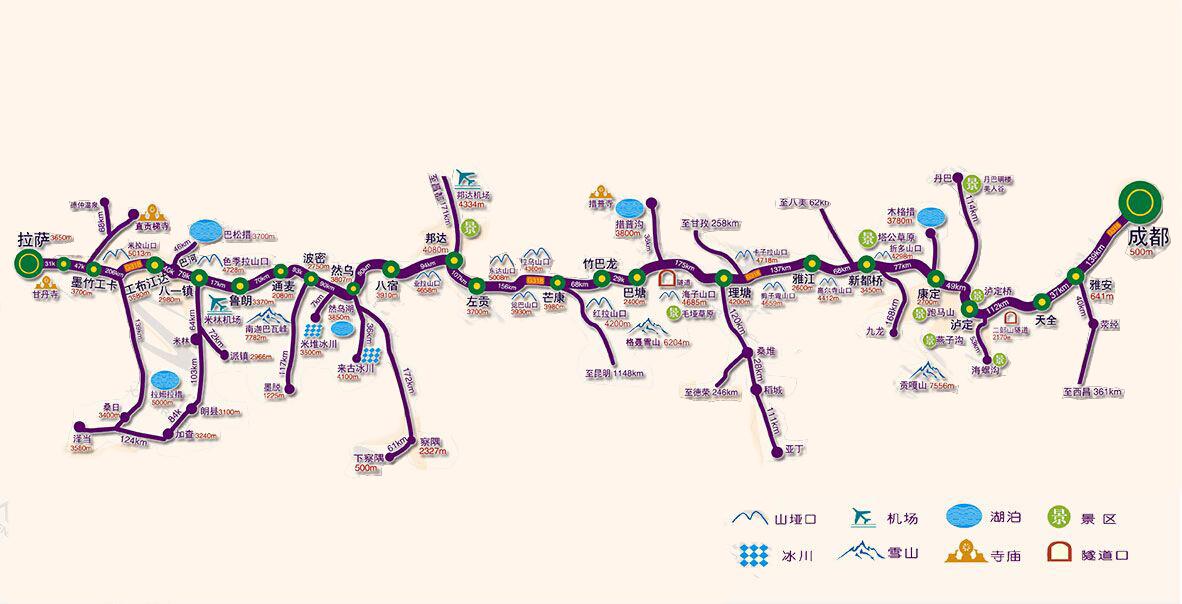 川藏南线旅游线路地图