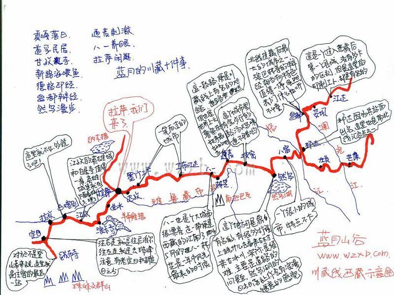川藏线手绘地图